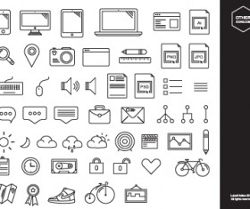 Hand drawn cute icons vector