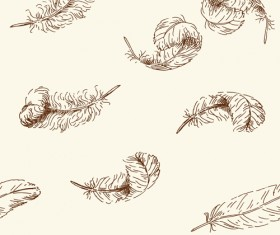 Hand drawn feather seamless pattern vector