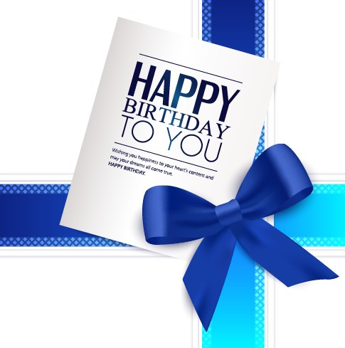 Happy Birthday greeting card with bow vector 01 Vector Birthday – Vector Birthday Card