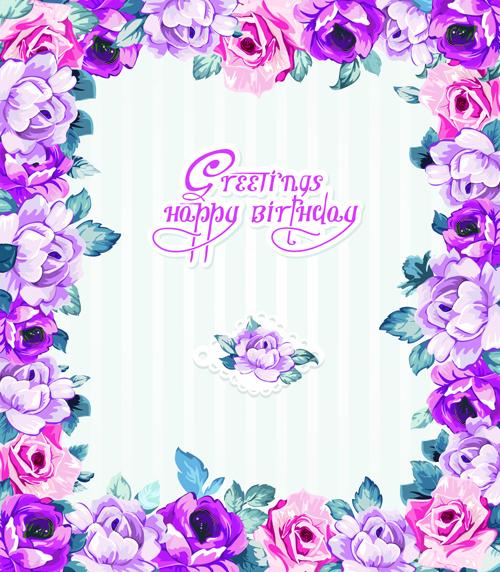 Birthday flowers greeting cards 01 vector birthday vector card