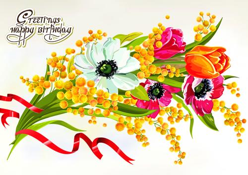 happy birthday flowers greeting cards 03  vector birthday