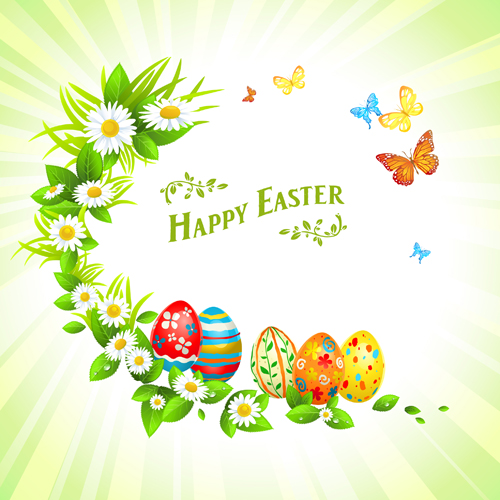 Happy easter flower frame background vector 03