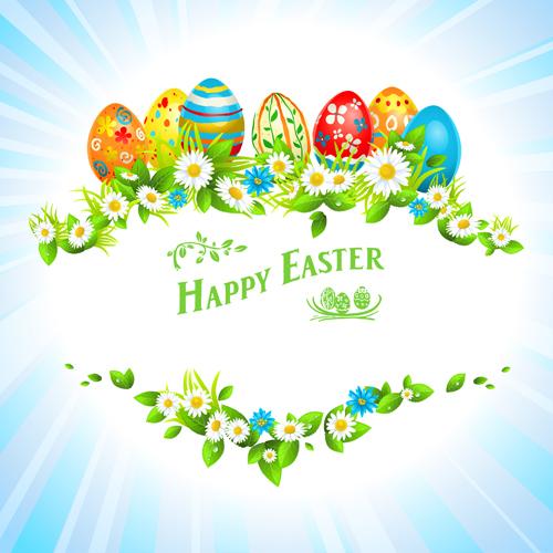 happy easter flower frame background vector 04 - Easter Picture Frames