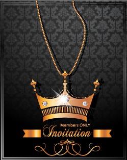 Luxury Crown Invitation Card Vector 01