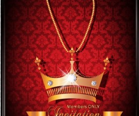 Luxury Crown Invitation Card Vector 02
