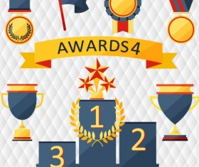 Medals with cup and awards elements vector set 01