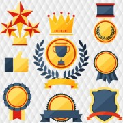 Link toMedals with cup and awards elements vector set 02