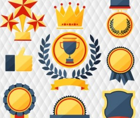 Medals with cup and awards elements vector set 02