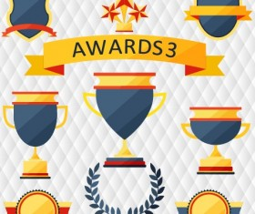 Medals with cup and awards elements vector set 03