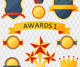 Medals with cup and awards elements vector set 04