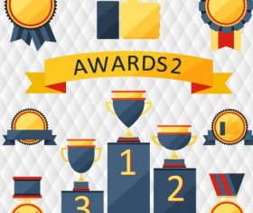 Medals with cup and awards elements vector set 05