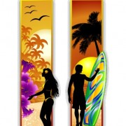 Link toMen and women silhouette with travel banner vector