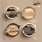 Link toModern coffee labels with elements vector 01
