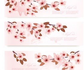 Pink cherry vector banner