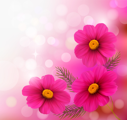 Pink Flower With Halation Background Art