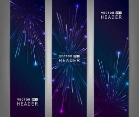 Purple & blue fireworks banners vector