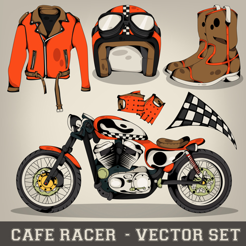Racer elements design vector set