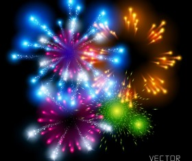 Realistic fireworks colored background vector graphics 01