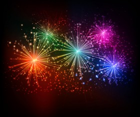 Realistic fireworks colored background vector graphics 02
