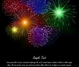 Realistic fireworks colored background vector graphics 03