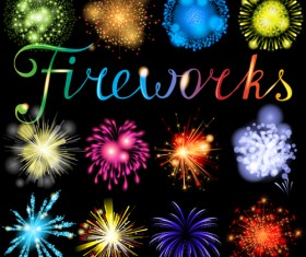 Realistic fireworks colored background vector graphics 04