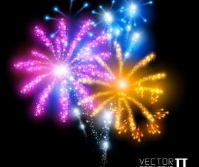 Realistic fireworks colored background vector graphics 05