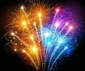 Realistic fireworks colored background vector graphics 06