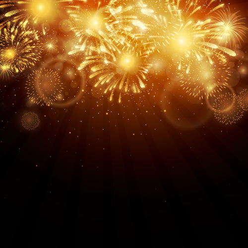 Realistic Fireworks Colored Background Vector Graphics 07