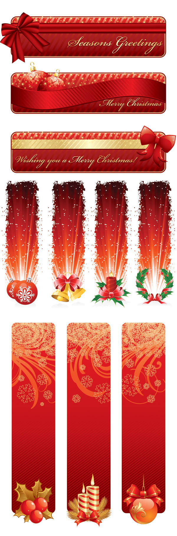 Red Style Holiday Banner Vector Graphics Free Download