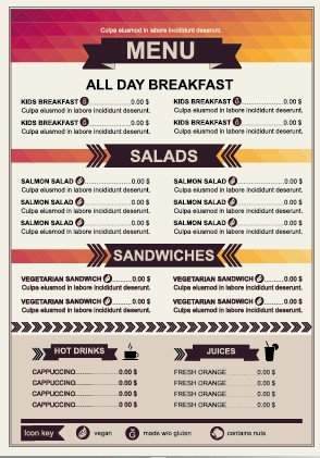 Restaurant Menu Price List Template Vector 01