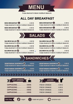 Restaurant Menu Price List Template Vector   Vector Cover Free