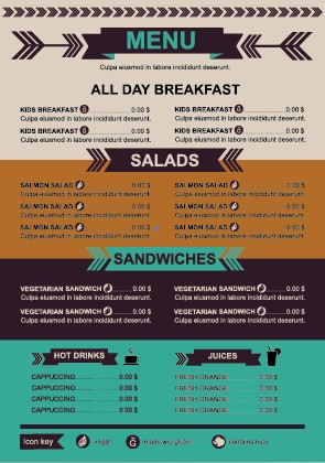 restaurant menu price list template