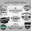 Retro Premium Quality Labels with Ribbon Vector 01