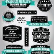 Link toRetro premium quality labels with ribbon vector 03
