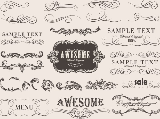 Retro Calligraphic Frame Labels Decor Vector 01 Free Download