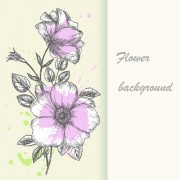 Link toRetro hand drawn flowers background design 01