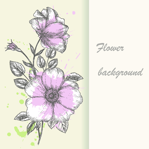 Retro hand drawn flowers background design 01 vector background retro hand drawn flowers background design 01 mightylinksfo Image collections