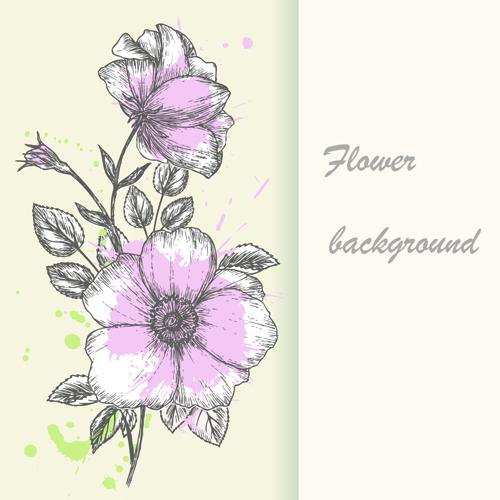 Retro hand drawn flowers background design 01 free download
