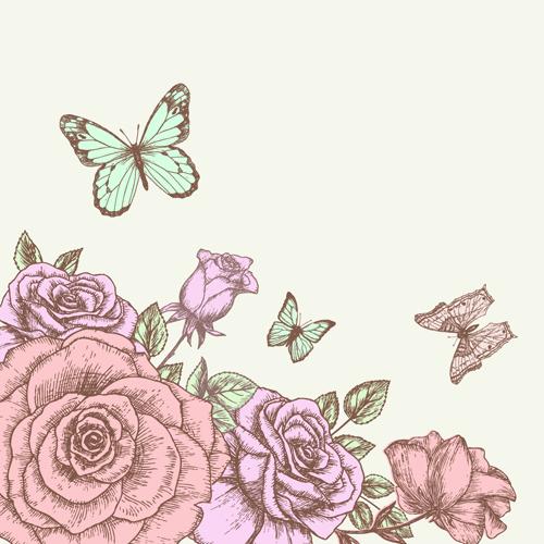 Retro Hand Drawn Flowers Background Design 02 Vector