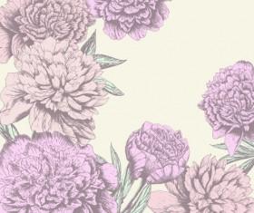 Retro hand drawn flowers background design 04