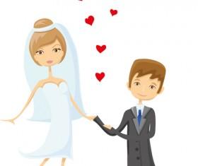 Romantic bride and groom design vector 02