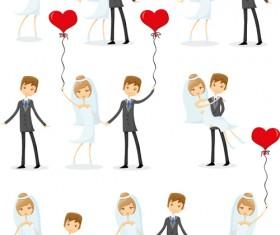 Romantic bride and groom design vector 04