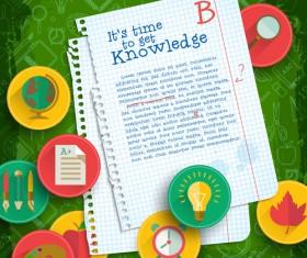 Education elements creative vector background set 06