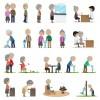 Set of Old people vector design 01