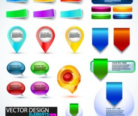 Shiny button and web labels vector