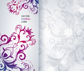 Shiny floral Invitations card design vector set 01