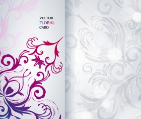 Shiny floral Invitations card design vector set 03