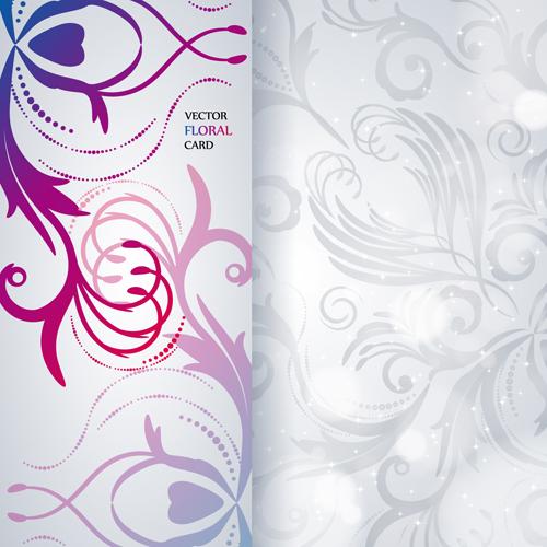 Shiny Floral Invitations Card Design Vector Set 05