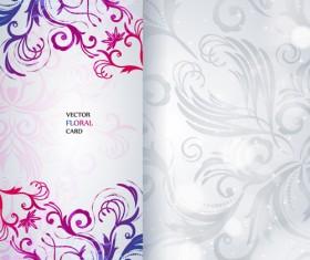 Shiny floral Invitations card design vector set 06
