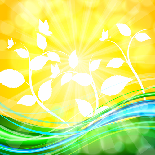 Shiny yellow background vector graphics 03